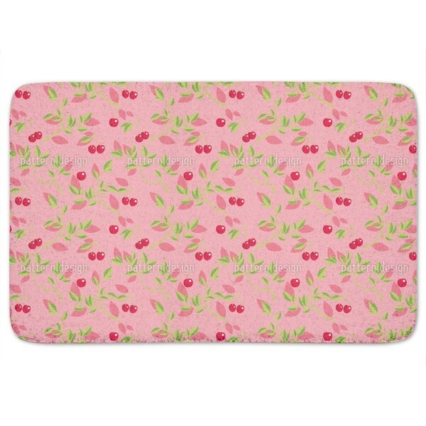 Cherry Branches Pink Bath Mat