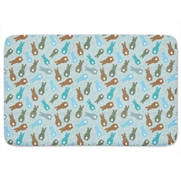 Bouncing Bunnies Blue Bath Mat
