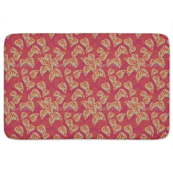 Birchleaves on Red Bath Mat