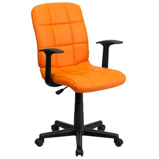 Menil Orange Quilted Design Leatherette Swivel Adjustable Office Chair