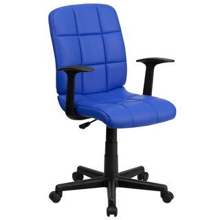 Menil Blue Quilted Design Leatherette Swivel Adjustable Office Chair