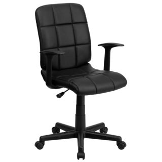 Menil Black Quilted Design Leatherette Swivel Adjustable Office Chair