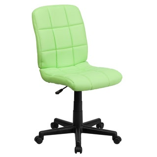 Menil Armless Quilted Design Green Leatherette Swivel Adjustable Office Chair