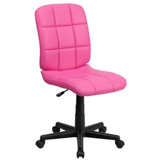 Menil Armless Quilted Design Pink Leatherette Swivel Adjustable Office Chair