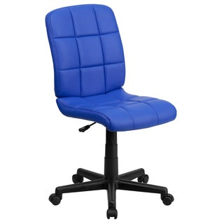 Menil Armless Quilted Design Blue Leatherette Swivel Adjustable Office Chair