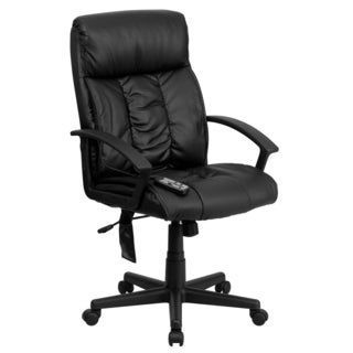 Comfy Massaging Black Leather Executive Adjustable Swivel Office Chair