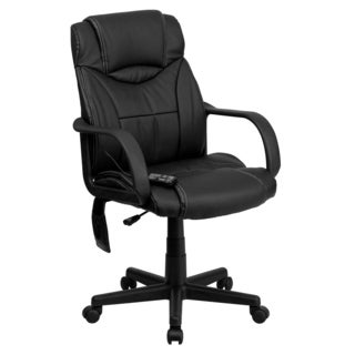 Alura Massaging Black Leather Executive Adjustable Swivel Office Chair