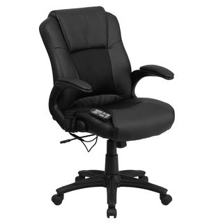 Shiatsu Massaging Black Leather and Mesh Executive Swivel Adjustable Office Chair