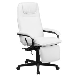 Mabire Reclining White Leather Executive Adjustable Swivel Office Chair with Footrest