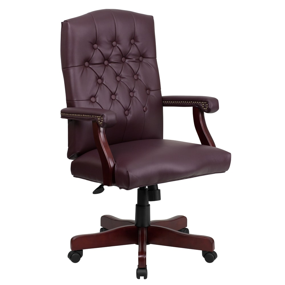 Button Tufted Design Burgundy Leather Executive Swivel Adjustable Office Chair With Mahogany Wood Capped Metal Base 1 Chair From A Line Furniture Ibt Shop