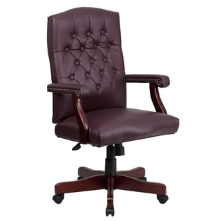 Button Tufted Design Burgundy Leather Executive Swivel Adjustable Office Chair with Mahogany Wood Capped Metal Base