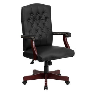 Button Tufted Design Black Leather Executive Swivel Adjustable Office Chair with Mahogany Wood Capped Metal Base