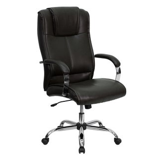 Draydn Brown Leather Adjustable Executive Swivel Office Chair