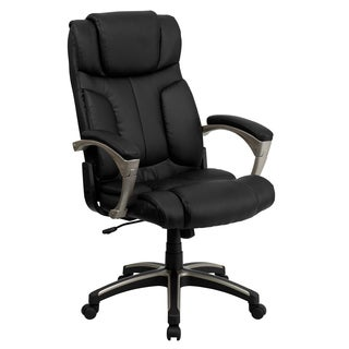 Foldable Black Leather Executive Adjustable Swivel Office Chair