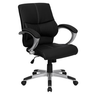 Nidra Black Leather Contemporary Swivel Adjustable Office Chair
