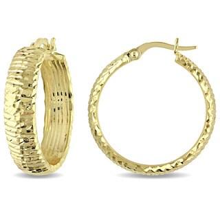 Miadora 14k Yellow Gold Italian Diamond-cut Hoop Earrings