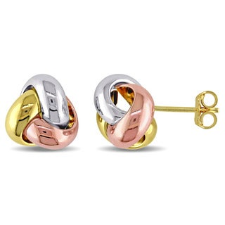 Miadora 10k Tri-color White, Yellow and Rose Gold Italian Love Knot Stud Earrings