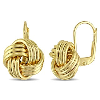 Miadora 10k Yellow Gold Italian Love Knot Leverback Earrings
