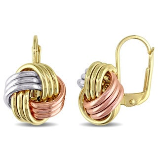 Miadora 10k Tri-color Yellow, White and Rose Gold Italian Love Knot Leverback Earrings