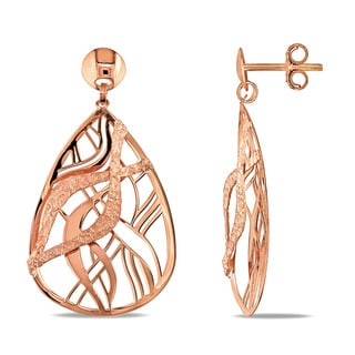 Miadora 18k Rose Gold Italian Fancy Wave Teardrop Dangle Earrings