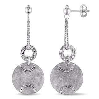 Miadora 14k White Gold Italian Round Disc on Double Chain Dangle Earrings