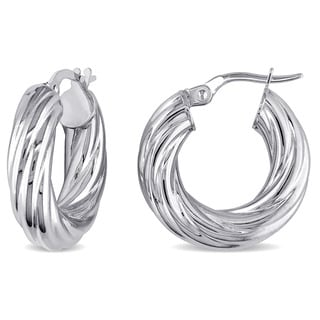 Miadora 10k White Gold Italian Round Twisted Rope Hoop Earrings