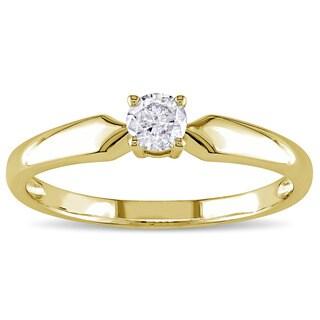 Miadora 10k Yellow Gold 1/5ct TDW Diamond Solitaire Promise Ring
