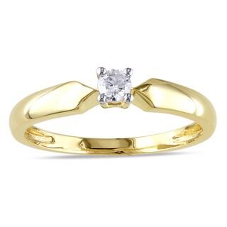 Miadora 10k Yellow Gold 1/10ct TDW Diamond Solitaire Promise Ring