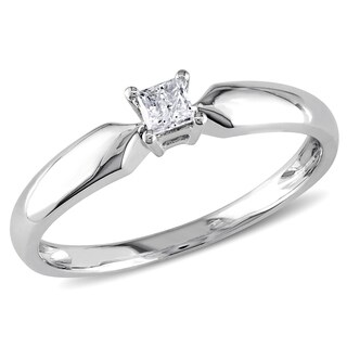 Miadora 10k White Gold 1/10ct TDW Princess-cut Diamond Solitaire Promise Ring
