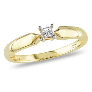 Miadora 10k Yellow Gold 1/10ct TDW Princess-cut Diamond Solitaire Promise Ring