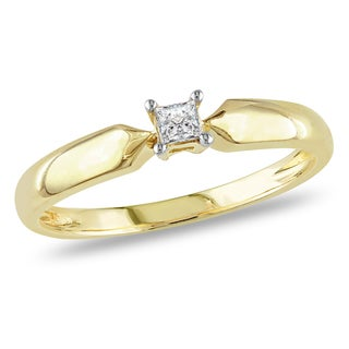 Miadora 10k Yellow Gold 1/10ct TDW Princess-cut Diamond Solitaire Promise Ring (J-K, I2-I3)