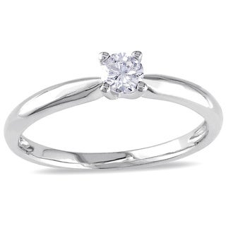 Miadora 10k White Gold 1/4ct TDW Diamond Solitaire Engagement Ring