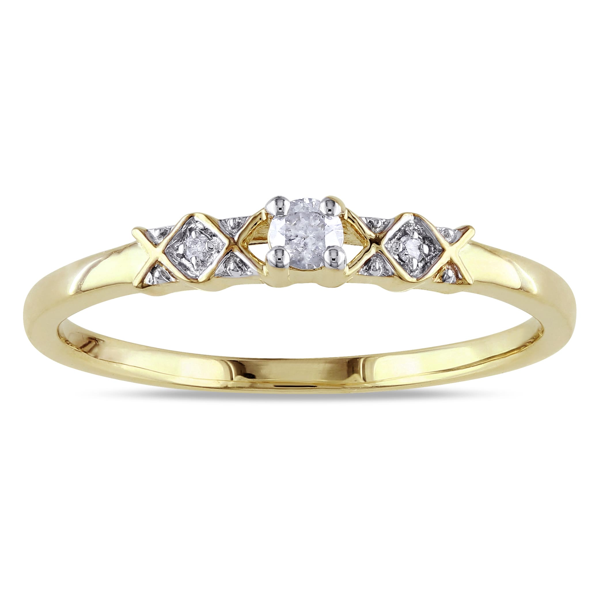 Size-3 3 Diamond Promise Ring in 10K Yellow Gold G-H,I2-I3 1//10 cttw,