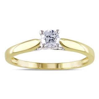 Miadora 14k 2-tone White and Yellow Gold 1/4ct TDW Diamond Solitaire Engagement Ring (G-H, I1-I2)