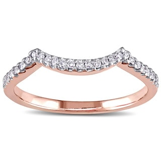 Miadora 14k Rose Gold 1/8ct TDW Diamond Contour Wedding Band