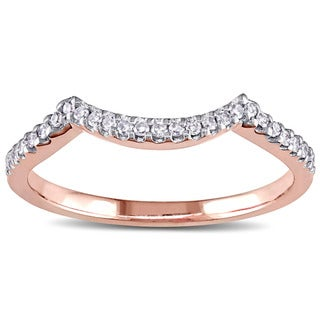 Miadora 14k Rose Gold 1/8ct TDW Diamond Contour Wedding Band (G-H, I1-I2)
