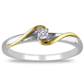 Miadora 10k 2-tone White and Yellow Gold Diamond Accent Bypass Promise Ring