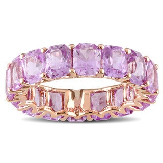 Miadora Signature Collection 14k Rose Gold Octagon-cut Pink Sapphire Eternity Ring