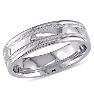 Miadora 14k White Gold Men's Triple Row Wedding Band