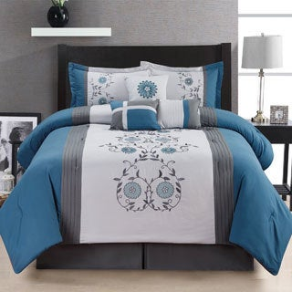 Fashion Street San Marco Embroidered 7-piece Comforter Set