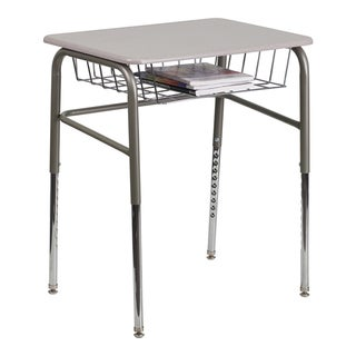 Offex Student Desk with Grey Nebula Plastic Top Adjustable Legs and Open Front Book Basket [xu-desk-gg]