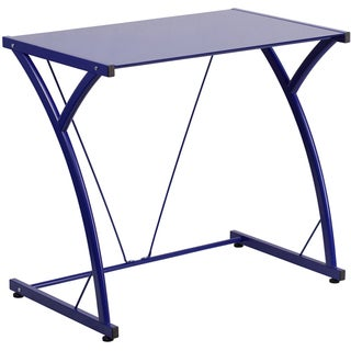 Offex Contemporary Tempered Glass Computer Desk with Matching Frame