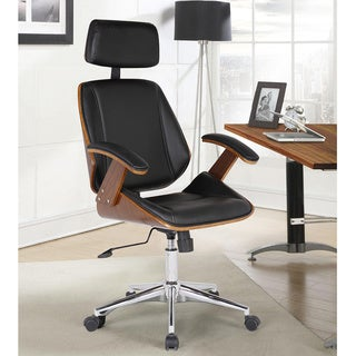 Armen Living Century Black PU Leather Office Chair with Walnut Veneer Back and Chrome Finish Base