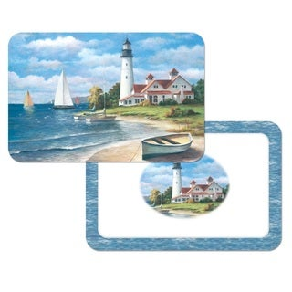 Counterart 'Lighthouse Mural' Reversible Plastic Wipe Clean Placemats (Set of 4)