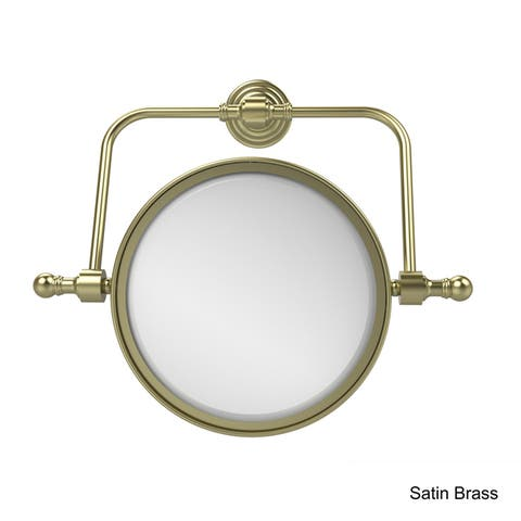 "Allied Brass Retro Wave Collection Wall Mounted Swivel Make-Up Mirror 8-inch Diameter with 4X Magnification - 8""D"