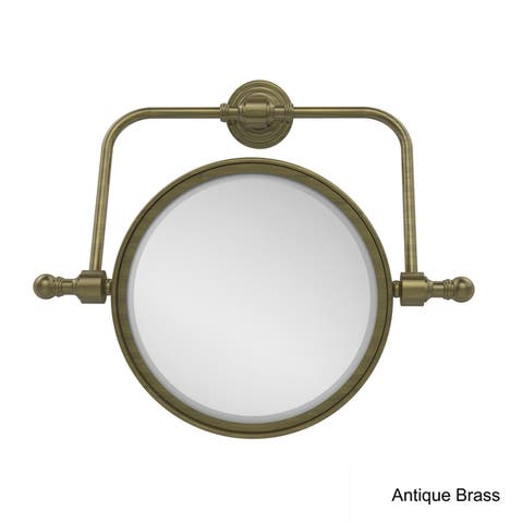 """Allied Brass Retro Wave Collection Wall Mounted Swivel Make-Up Mirror 8-inch Diameter with 4X Magnification - 8""""D"""