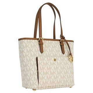 Michael Kors Medium Jet Set Vanilla Logo Top Zip Snap Tote Bag