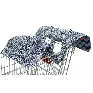 The Peanut Shell Reversible Shopping Cart Cover in Navy Chevron Print