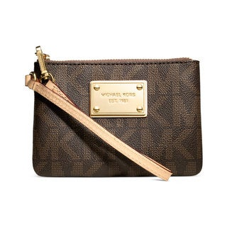 Michael Kors Jet Set Brown Logo Small Signature Wristlet