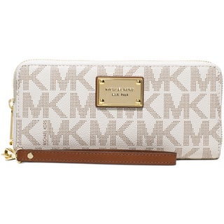 Michael Kors Jet Set Item Vanilla and Gold Travel Continental Wallet